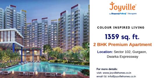 1359 sq.ft. 2 BHK Apartment in Joyville Gurgaon Sector 102, Dwarka Expressway