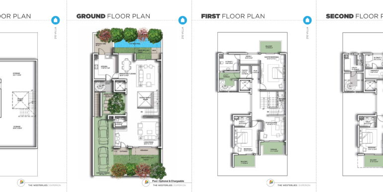 Floor Plan - 4 bhk villa in experion